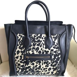 Celine luggage canvas leopard black leather tote